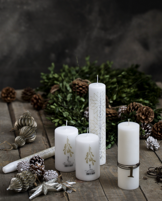 Nordic Calendar Candle  | White & Gold