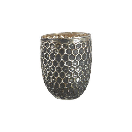 ELIN TEA LIGHT HOLDER CROSS DESIGN S | GREY