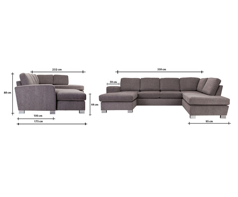 Bellatrix U-Sofa Right Hand | Nordby Grey