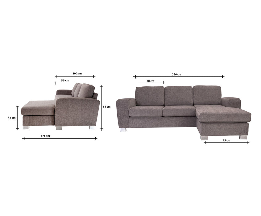 Bellatrix Sofa with Chaise | Nordby Grey