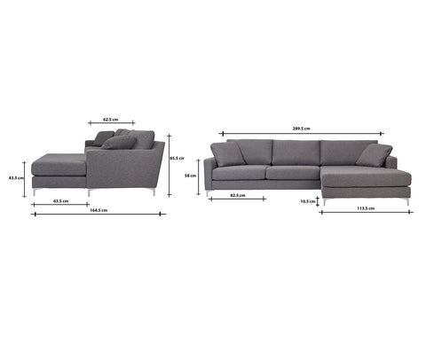 Delta Sofa with Chaise Right | Charcoal