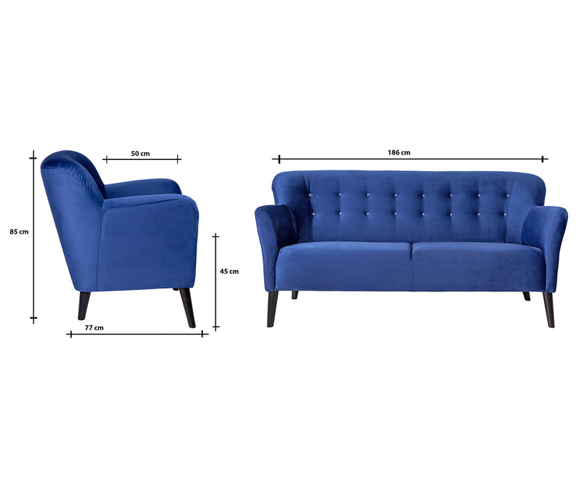 Venus 3 Seater Sofa | Navy Blue