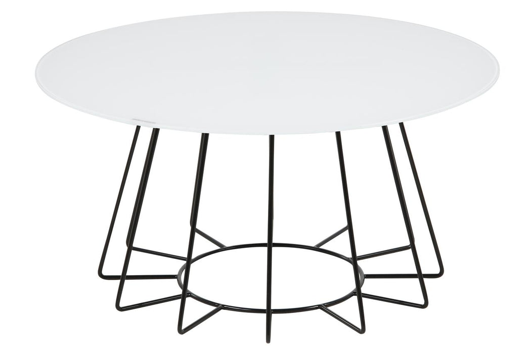 CASIA TABLE white & base metal black painted