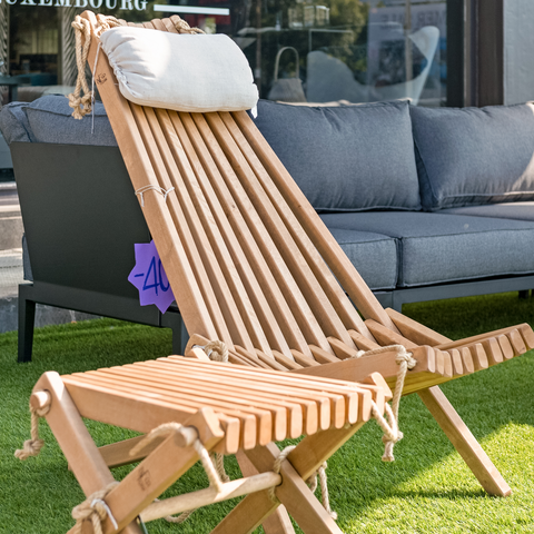 Ribbon Outdoor Footstool | Natural
