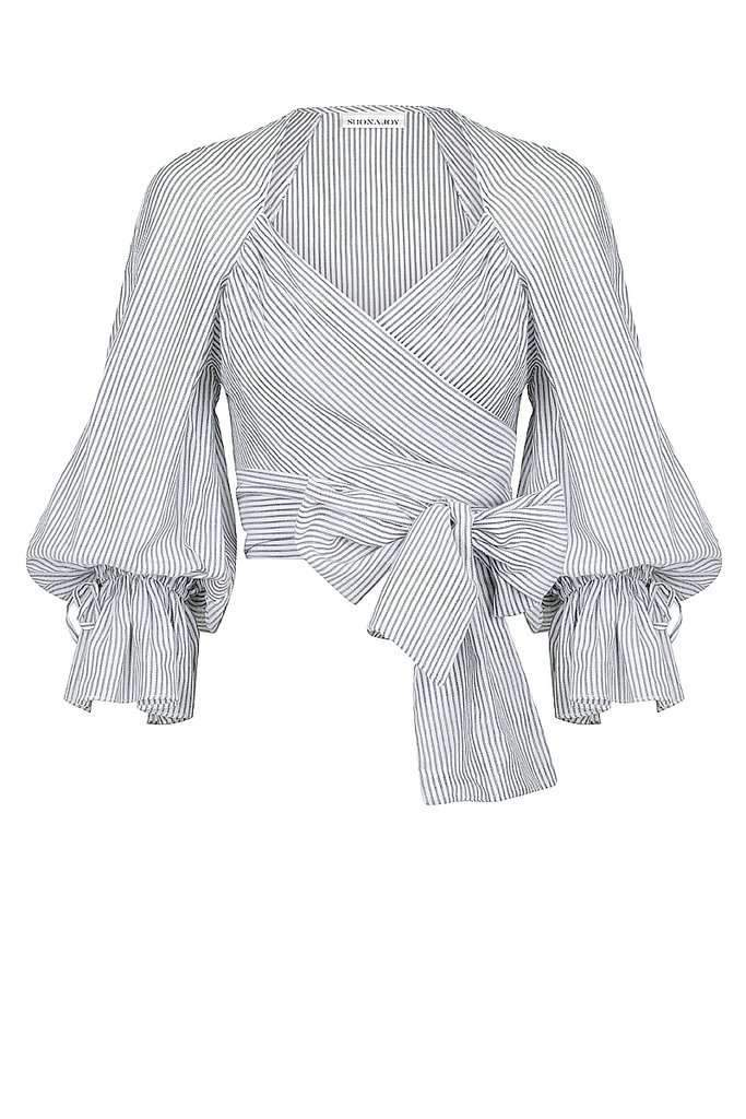 Shona Joy Rye Cropped Wrap Blouse