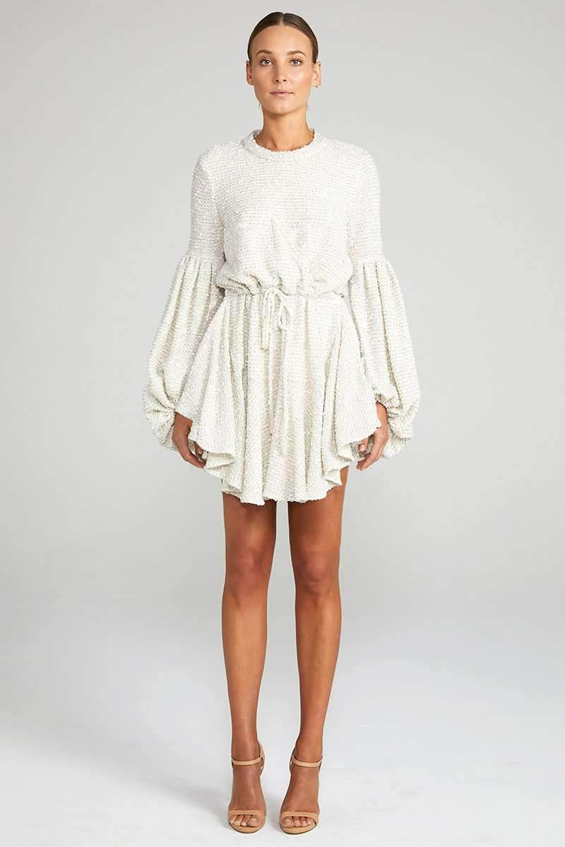Shona Joy Aimee Balloon Sleeve Drawstring Mini Dress