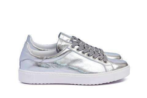 Department of Finery PREMIUM Dixie Sneaker SILVER ITALIAN LEATHER - Miko + Mollie