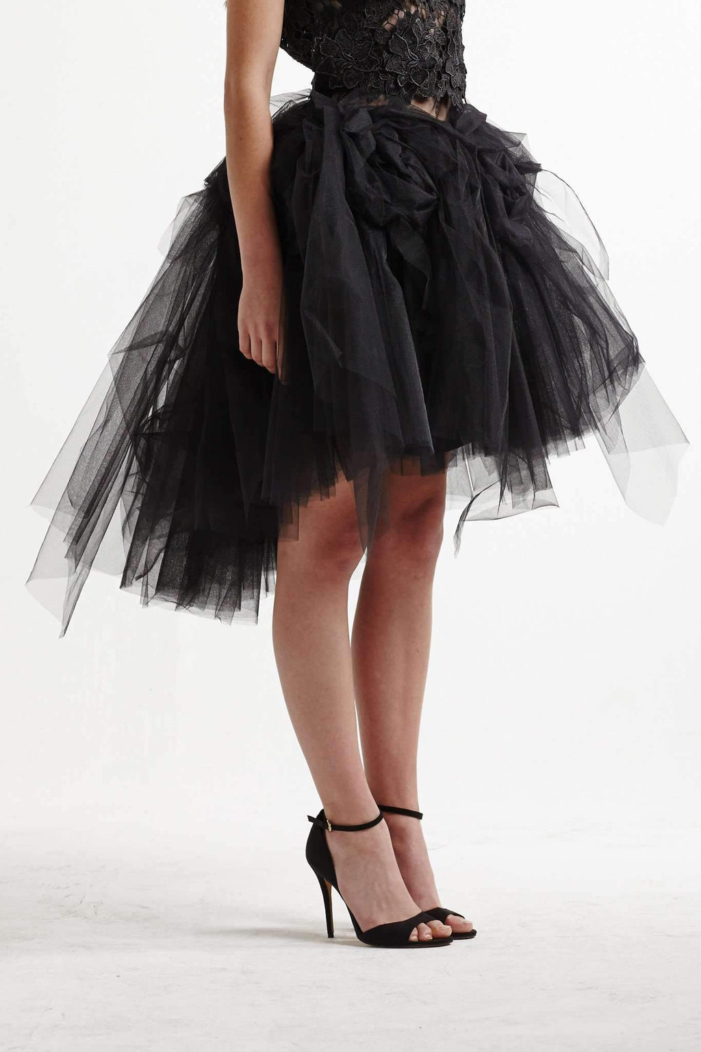 Lexi Faith Rosette Full Skirt in Black Tulle - Miko + Mollie