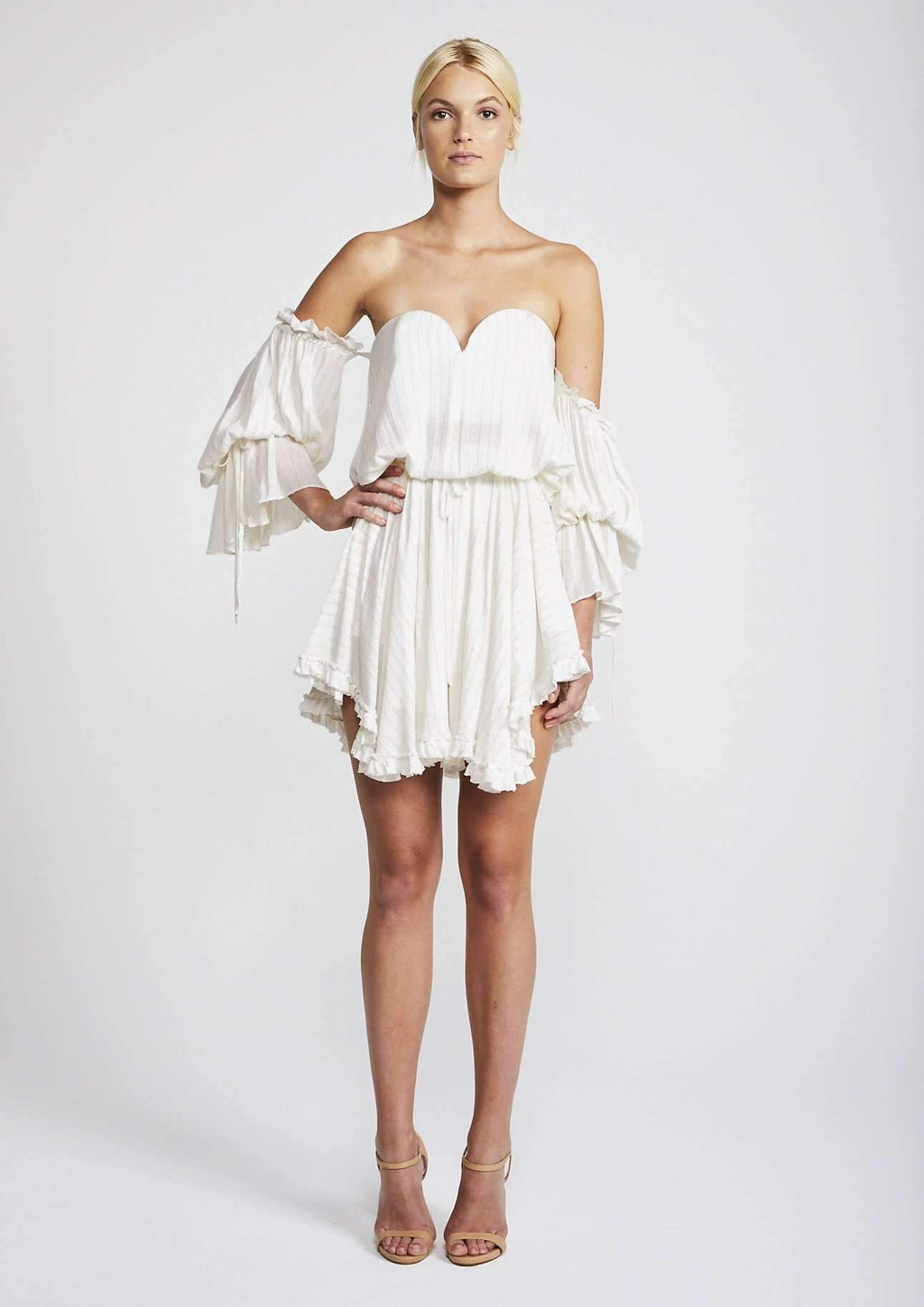 Shona Joy Dazed Bustier Mini Dress WHITE/GOLD