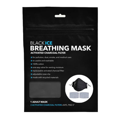 Black Ice Breathing Mask with Activated Charcoal Filter - ADULT SIZE BLACK