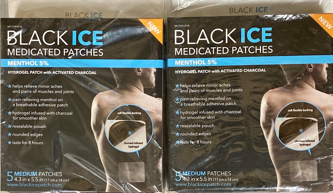 2 x Black Ice Boxes (Charcoal Patches)  -  2 x Individual Box with 5 Medium Patches in each