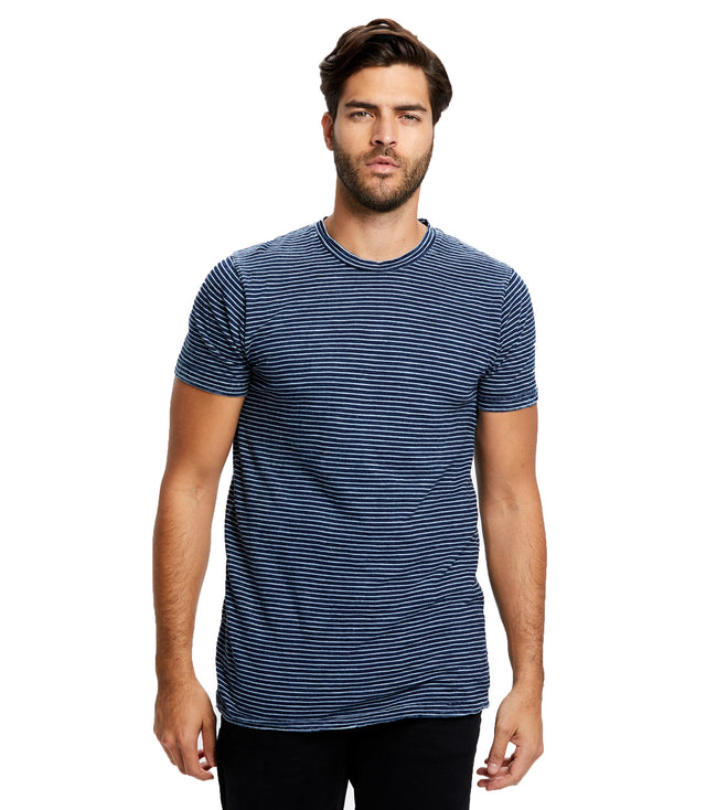 Men's True Indigo Striped Crew