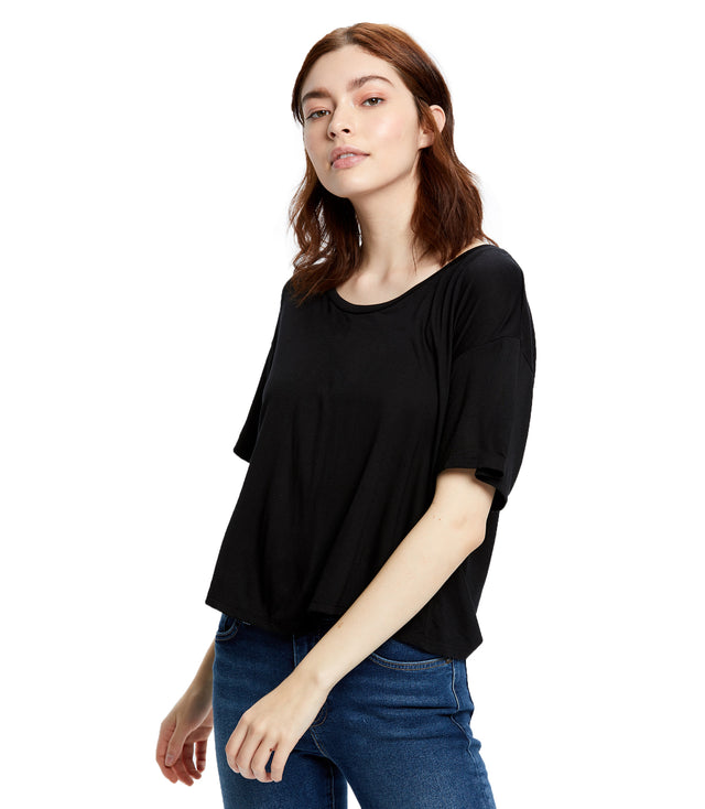 Women's Boxy Open Neck Top