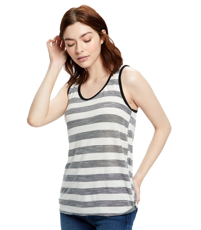 Women's Striped Slub Racer Tank