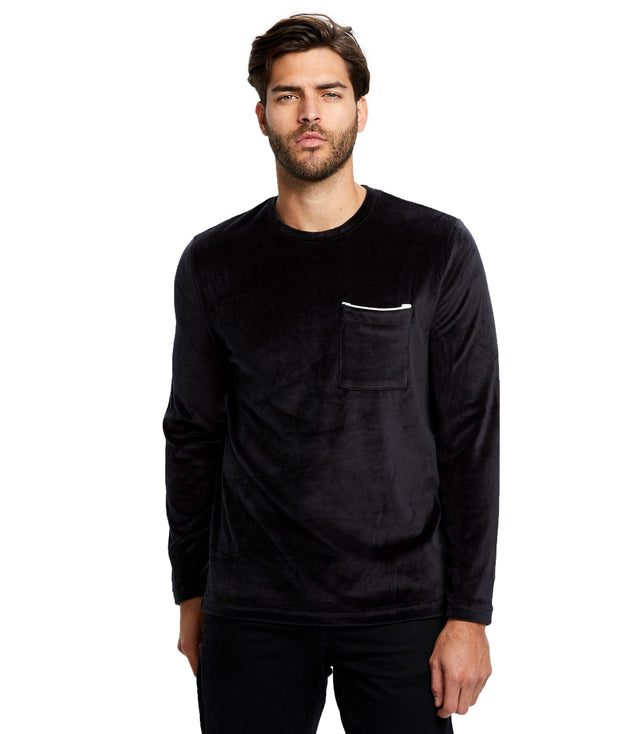 Men's Plush Velour Long Sleeve Pocket Tee