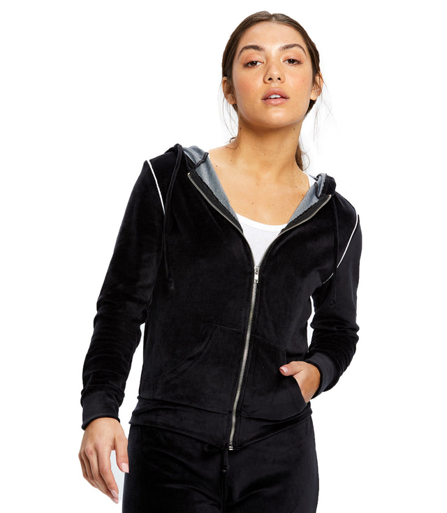 Women's Plush Velour Zip Hoody