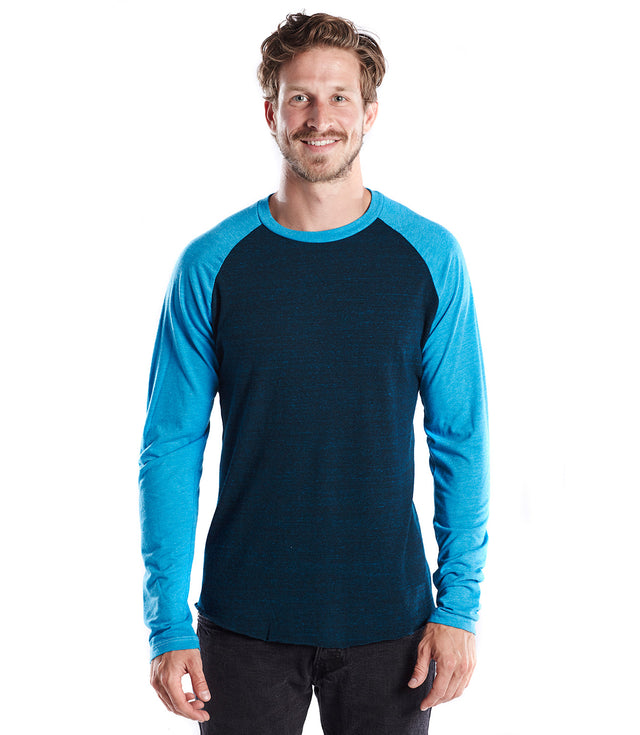 Men's Tri-blend Long Sleeve Raglan - Overdyed