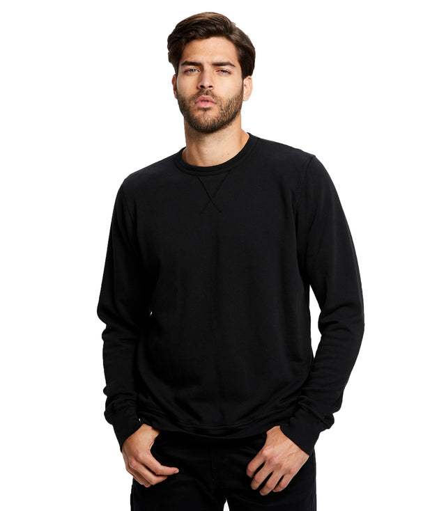 Men's Long Sleeve Pullover Crew - Garment Dyed