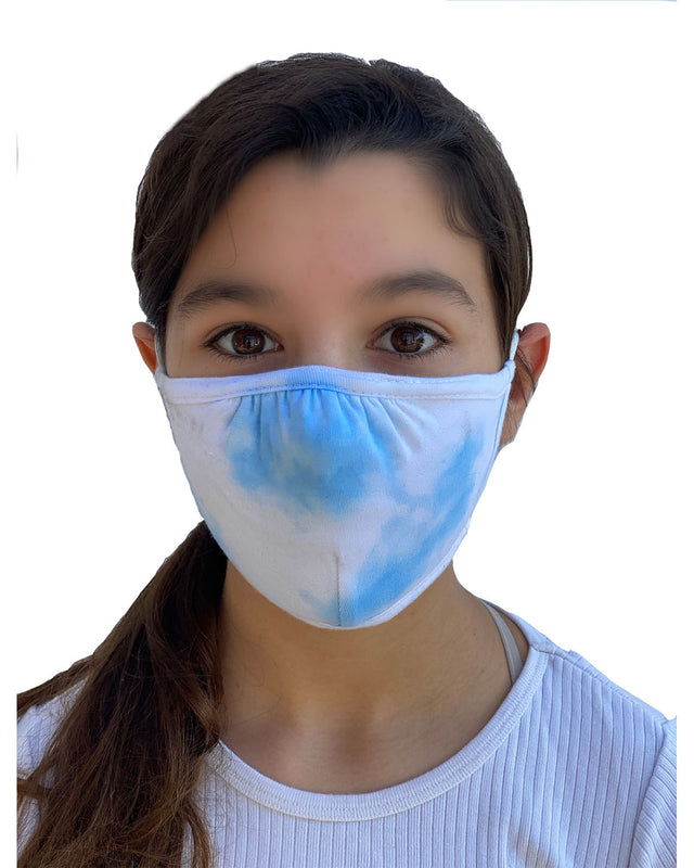 Tie Dye Cloud Blue Double Layer Adjustable Face Mask