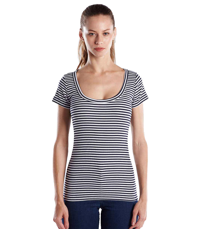 Striped Short Sleeve Scoop Neck
