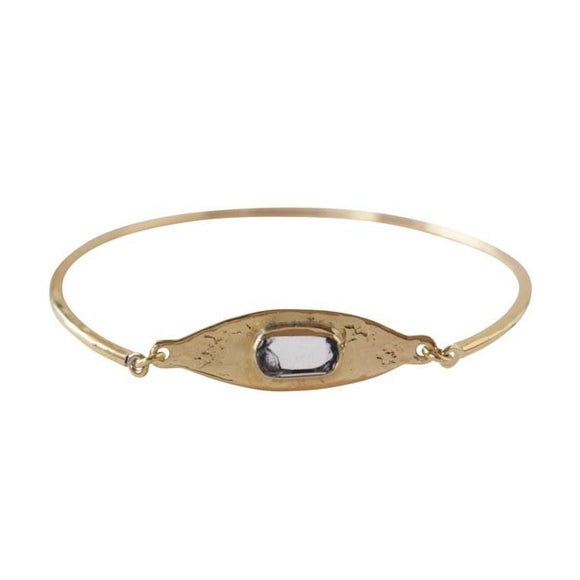 Brass Bangle with Stone