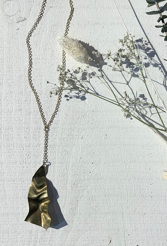 Brass Leaf Pendant Necklace