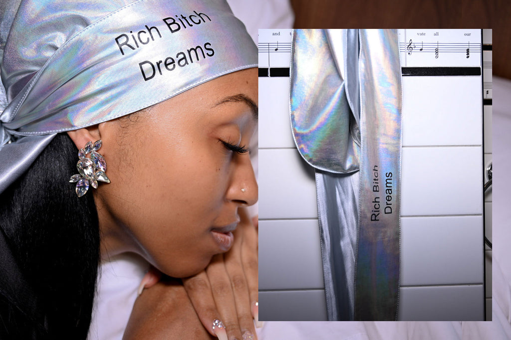 """Rich Bitch Dreams"" Holographic Silver Durag"