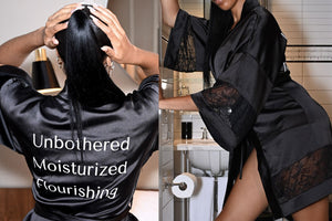 """Unbothered, Moisturized, and Flourishing"" Kimono Robe"