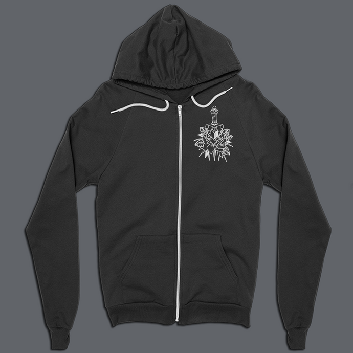 ROSE ZIP-UP HOODIE (BACK PRINT)