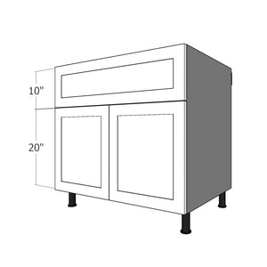 "BDF-M2D-36 One 10""H Drawer and Two Doors for 36""W IKEA Sektion Base Cabinet"