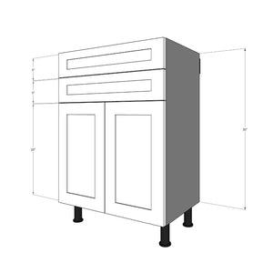 "BDF-2S2D-30 Two 5""H Drawers and Two 15"" Doors for 30""W IKEA Sektion Base Cabinet"