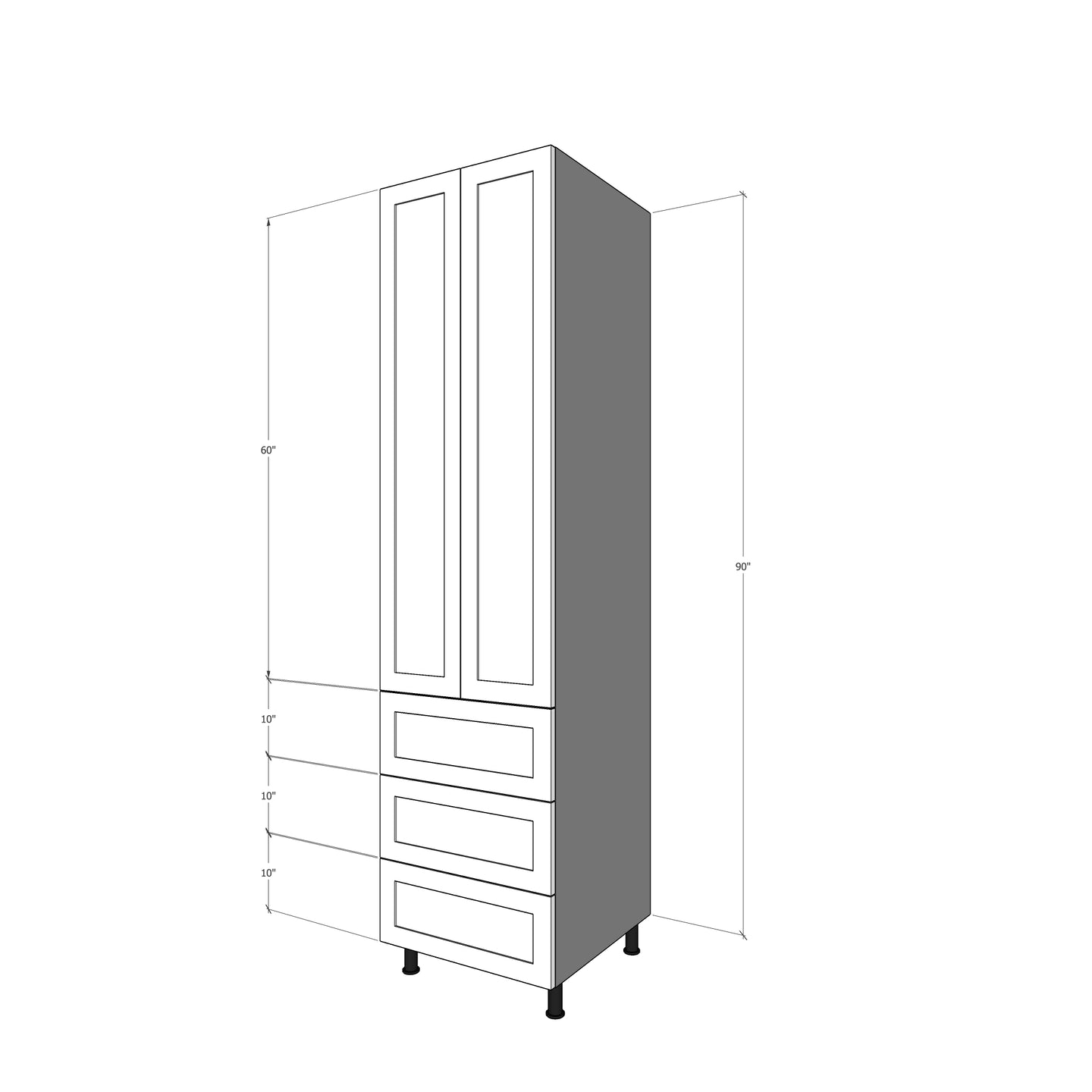 T-2D3M-30 Two Doors and Three Drawers for IKEA Sektion 90