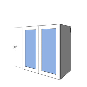"W2D-GL-3030 Two 15"" Wide Glass Doors for 30"" Wide IKEA Sektion 30""H Wall Cabinet"