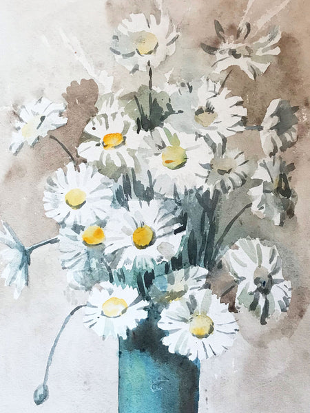 Original Victorian Daisies Watercolour