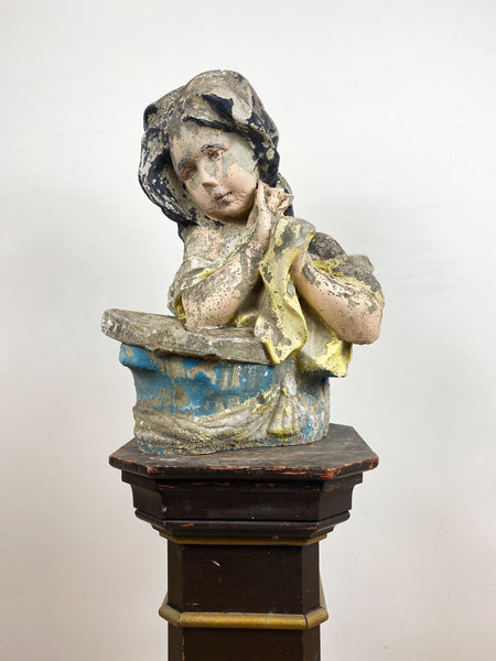 Weathered Vintage Girl Stone Statue