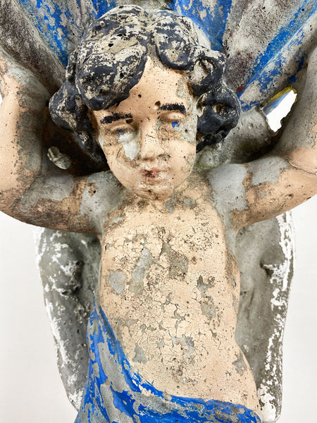 Vintage Putto Stone Statue with Bird Bath