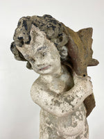 Vintage Stone Putto with Fish