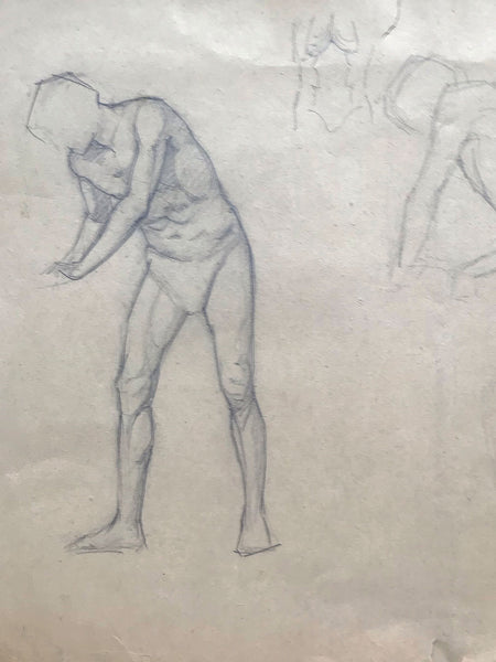 Original Victorian Drawing of a Nude Man by Dora Bard
