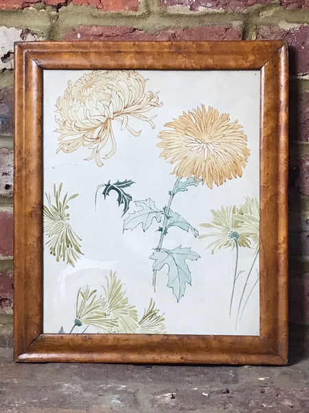 Watercolour Chrysanthemums in Maple Frame