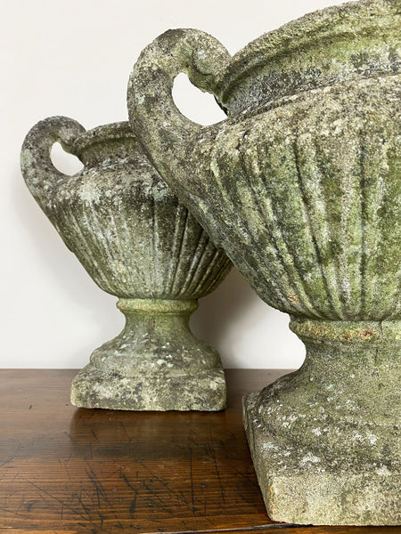 Pair of Weathered English Urns