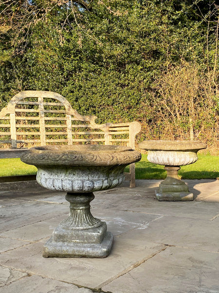 Pair of Large English Stone Planters