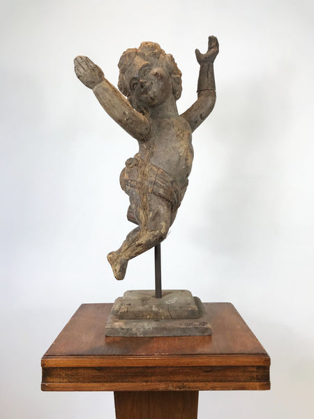 Large Hand Carved Wooden Cherub