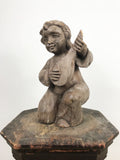 Hand Carved Wooden Putti & Guitar