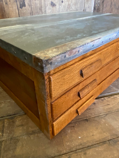 Vintage Plan Chest Coffee Table with Zinc Top
