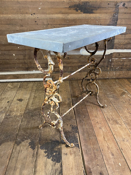 Cast Iron Table with Zinc Top