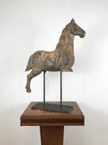 Large Hand Carved Wooden Horse on Metal Stand
