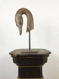 Wooden Swans Head Mounted on Metal Stand