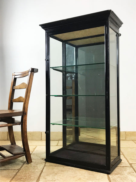 Victorian Ebonised Mirror Back Shop Display Cabinet