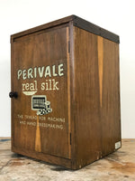 Decorative Antiques - Original Perivale 'Real Silks', mid to early 20th century wooden haberdashery shop display cabinet. Side view.