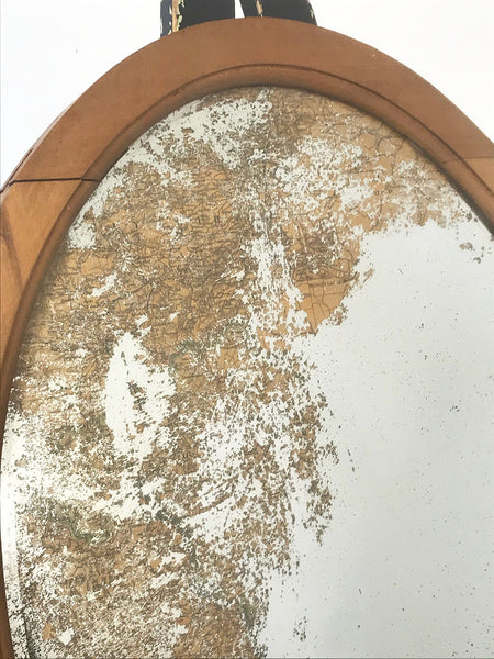 Decorative Antiques - Oval pine frame with foxed mirror plate. Vintage map showing through from underneath the mirror plate.